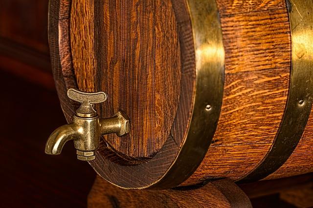 craft beer in a barrel