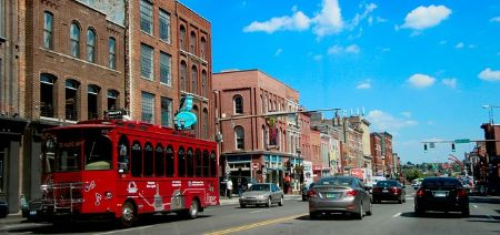 historic downtown nashville with trolley