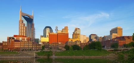 buildings in downtown nashville overlooking the river