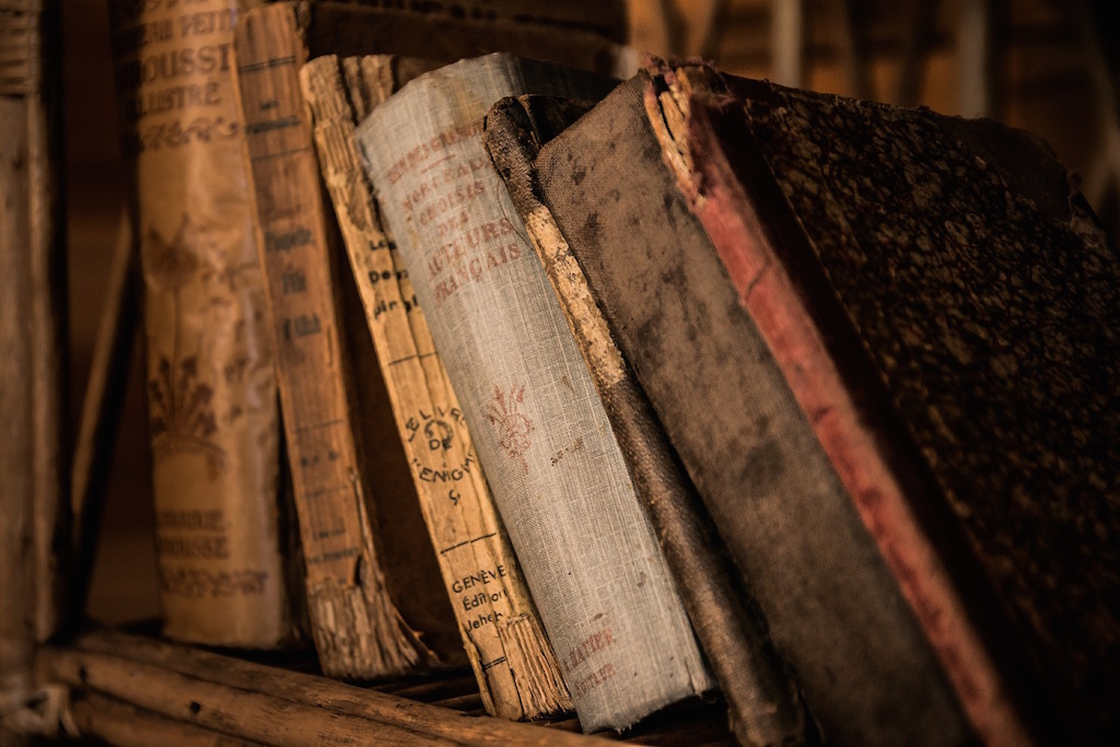 old books in a historic home