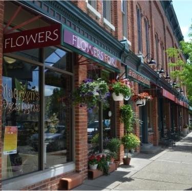 Flower shop with sidewalk display
