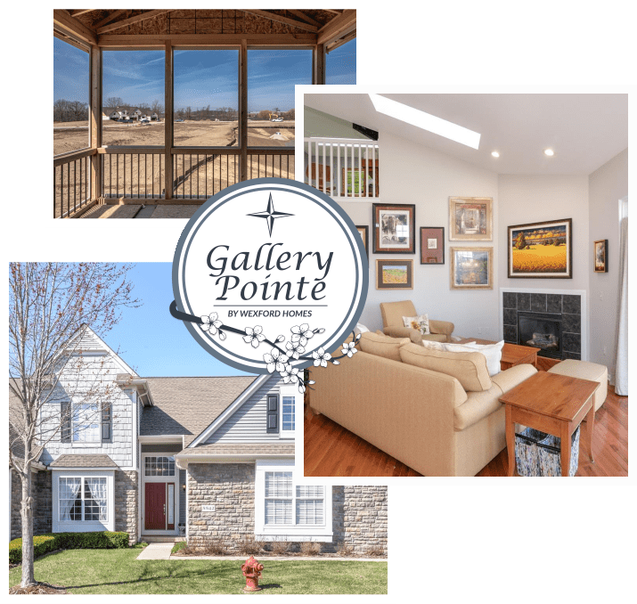Gallery Pointe by Wexford Homes | screen porch | bright living room | home with green lawn