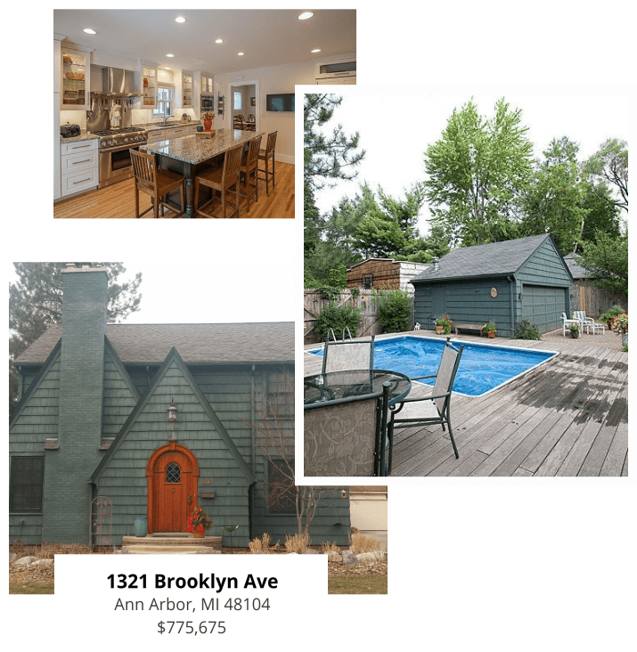 1321 Brooklyn Ave Ann Arbor, MI 48104 $775,675                      | green house with fireplace                      | backyard pool with poolhouse                      | spacious kitchen