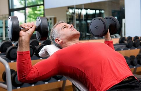 Man working out in gym