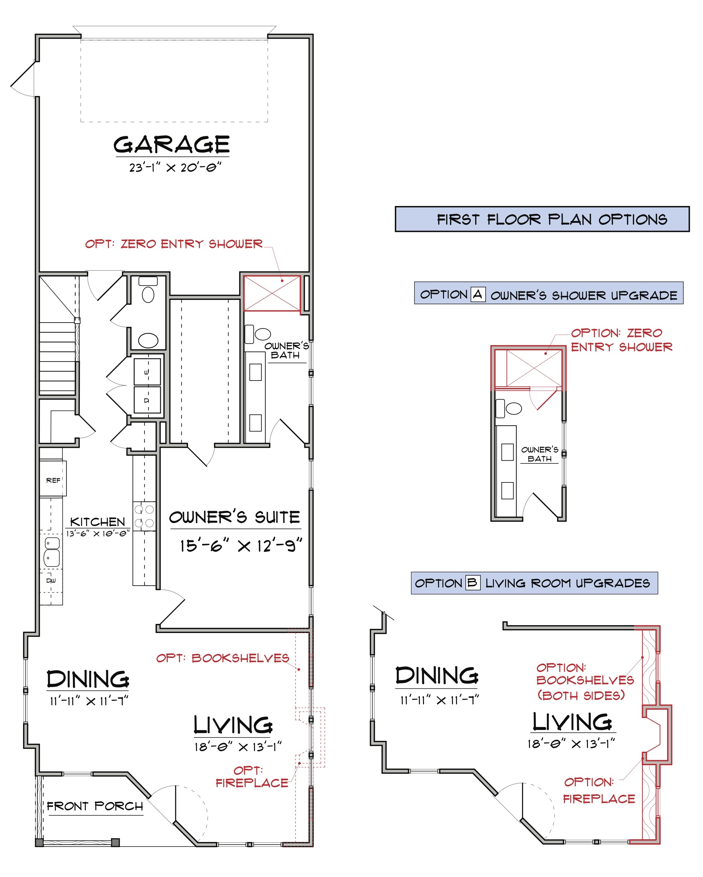 The Aster First Floor Floorplan for Elevation A and B