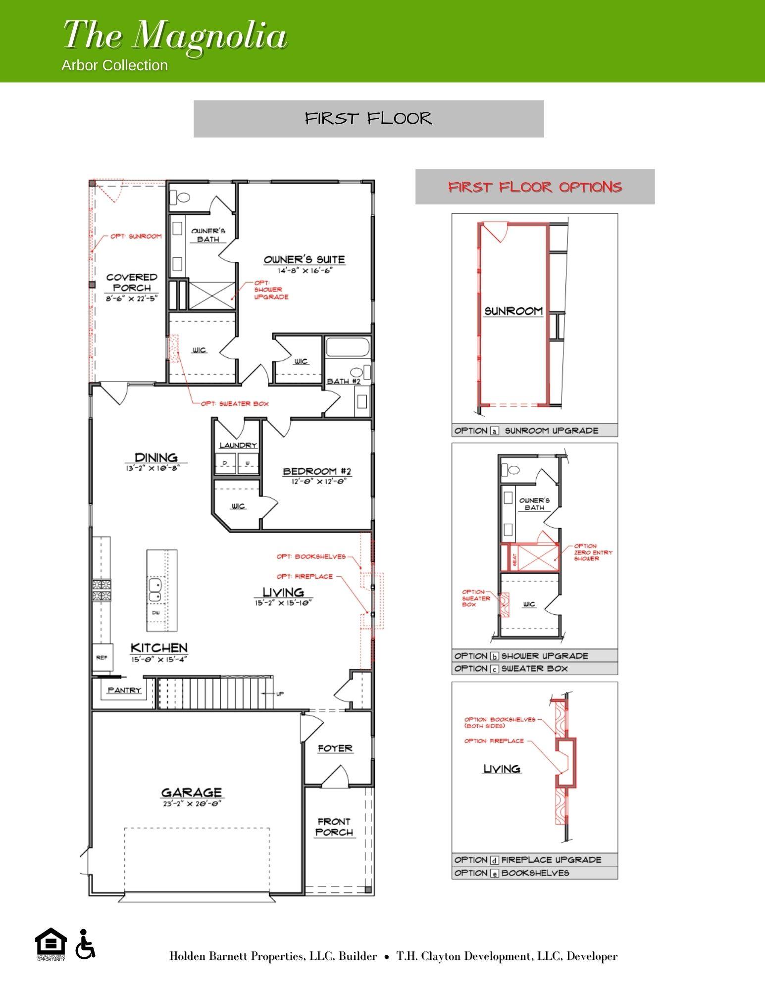 The Magnolia First Floor Floorplan Options