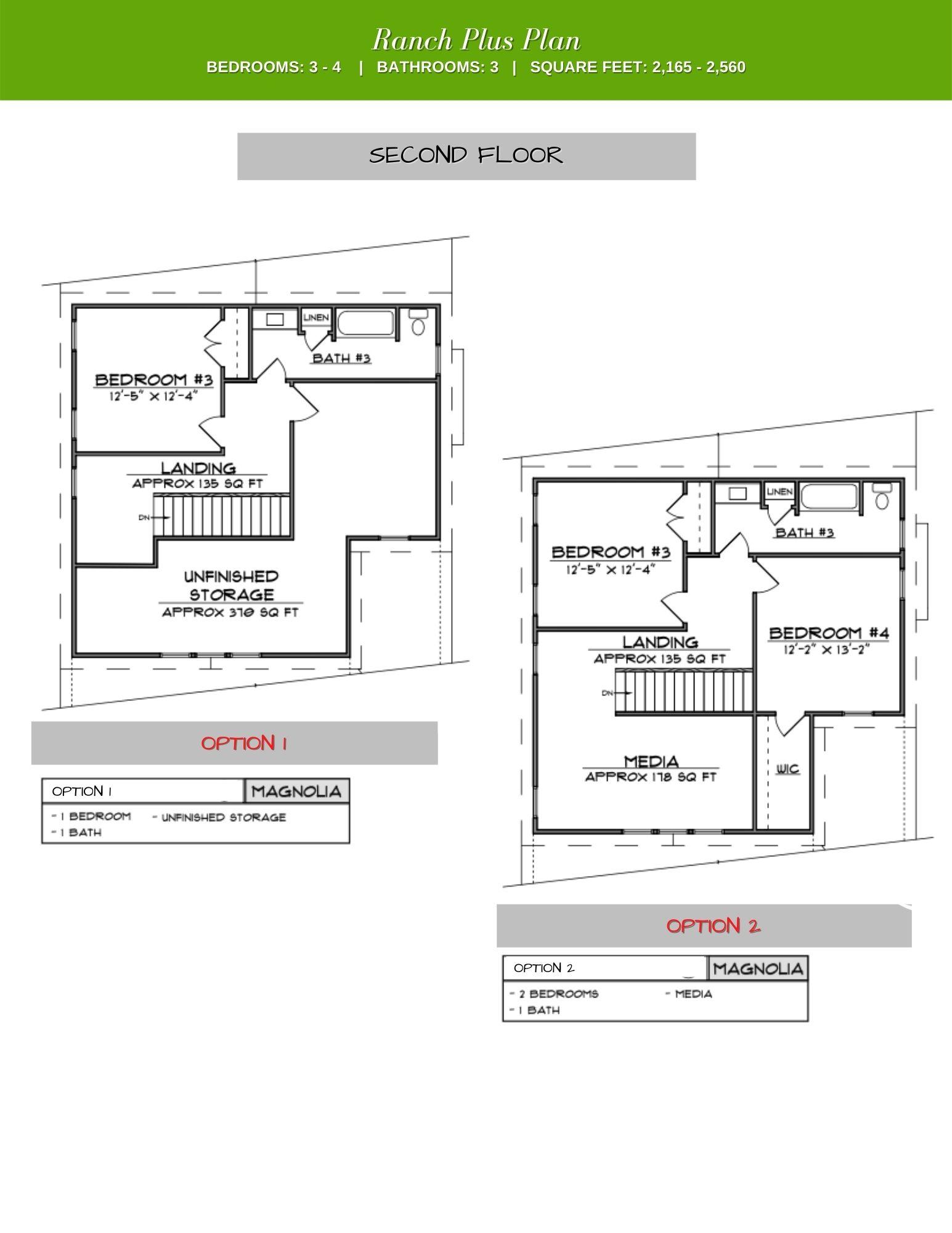 Magnolia 2nd Floor Plan Options