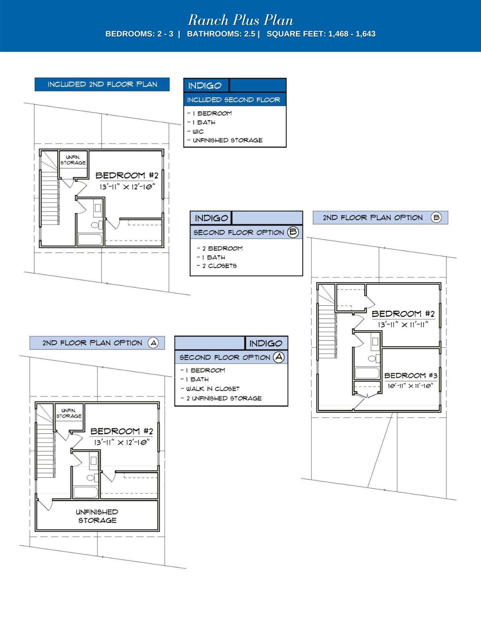 Indigo 2nd Floor Plan Options
