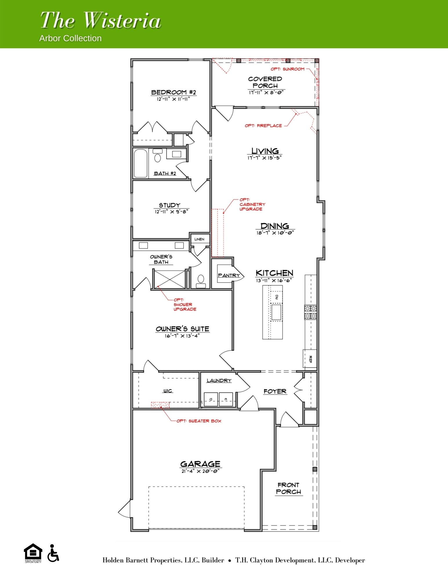 The Wisteria First Floor Floorplan Options