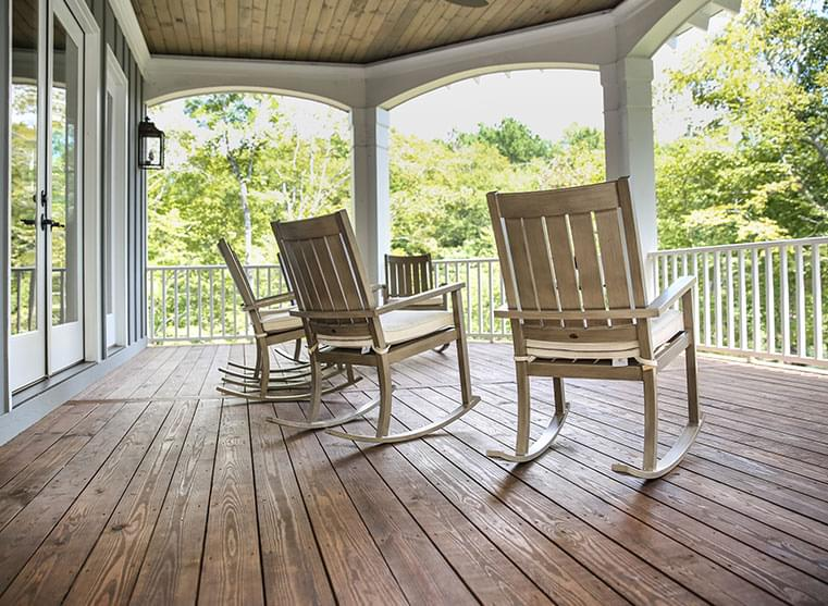 Rocking chairs on a sun-filled porch