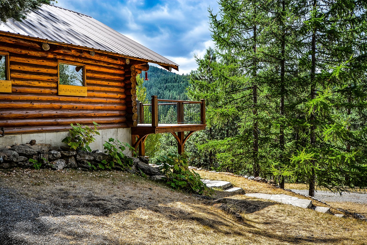 Log cabin in the country.