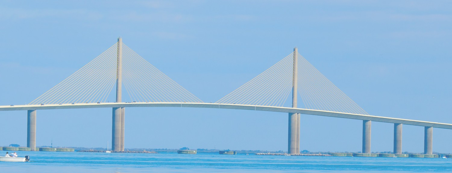 Side view of the Tampa Sunshine Skyway bridge