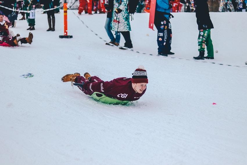 guy sledding