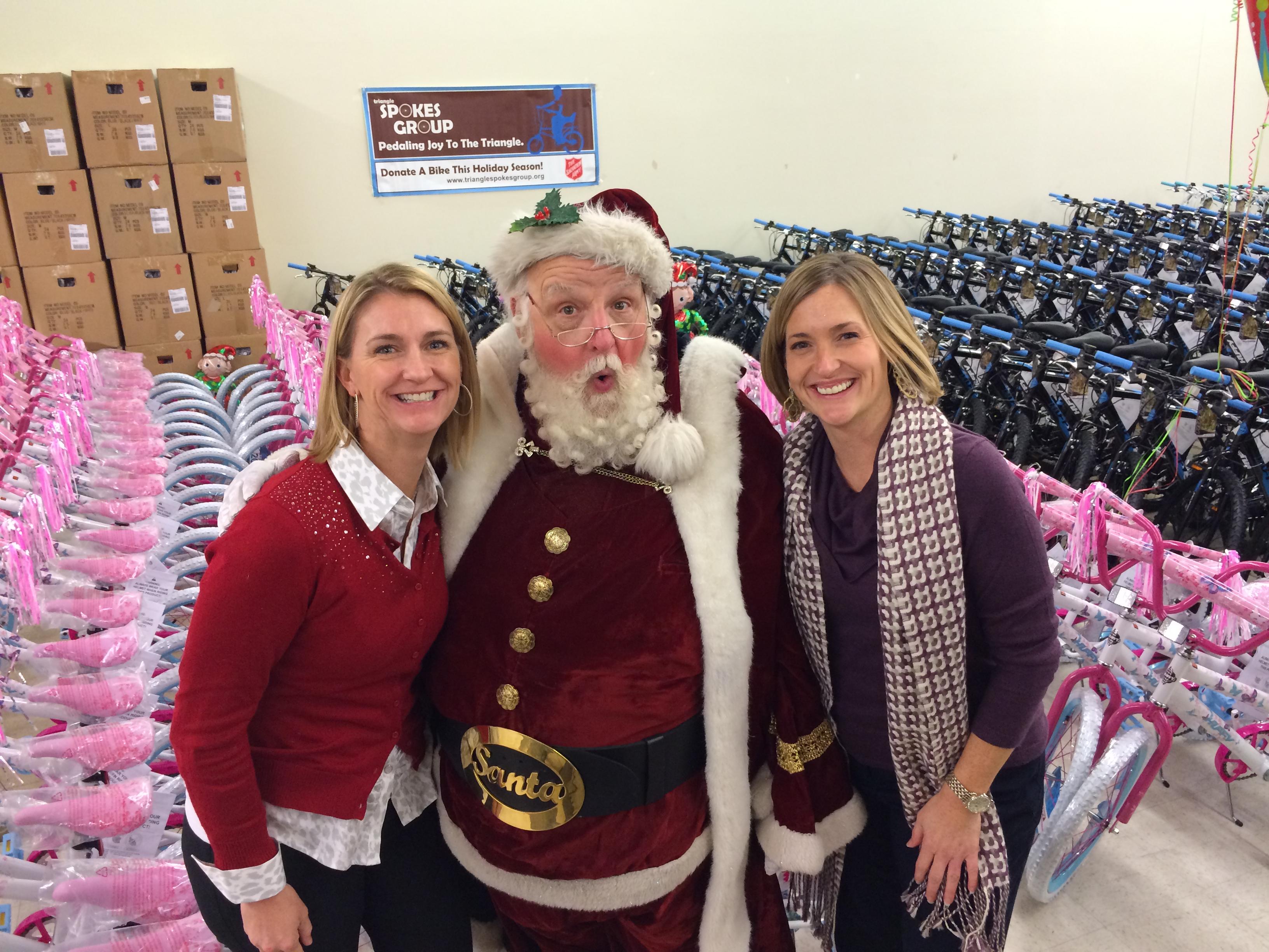 Santa with lisa and Jenn