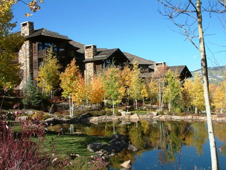The Ritz-Carlton residences in Bachelor Gulch, which are rustic log cabin-inspired homes nestled in the trees.