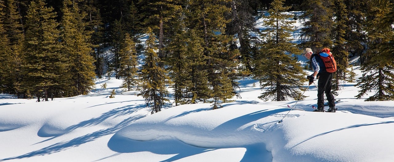 A man sticking skiing poles into a snow drift along a cross-country skiing trail.
