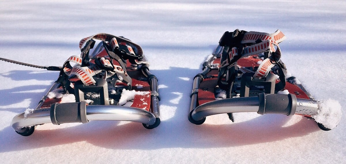 A pair of snowshoes sitting on top of fresh powder.