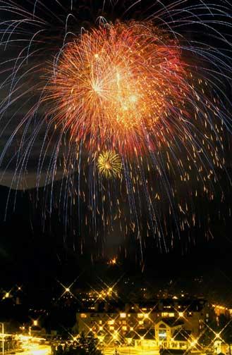 Fireworks shooting off over Beaver Creek Resort.