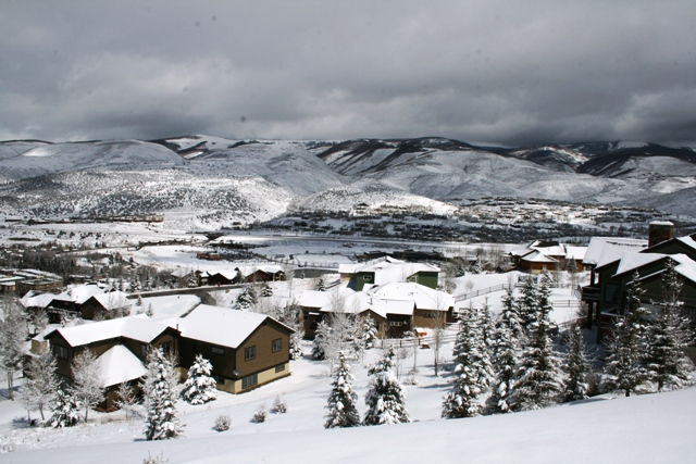 View of Homestead single-family homes overlooking a snowy mountain range.