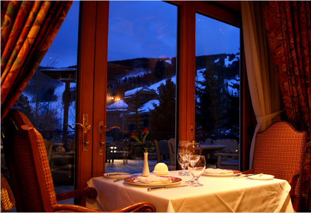 Upscale restaurant overlooking the mountain.