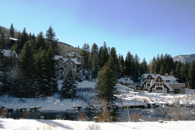 Gorgeous views of Gore Creek and Vail Village Homes from living room and second bedroom.
