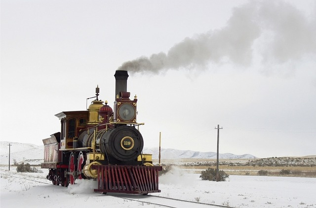 steam engine on snowy tracks