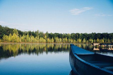 a canoe on the lake